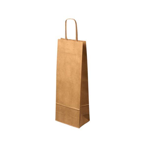 Papierová taška na 1 víno hnedá, krútené držadlá