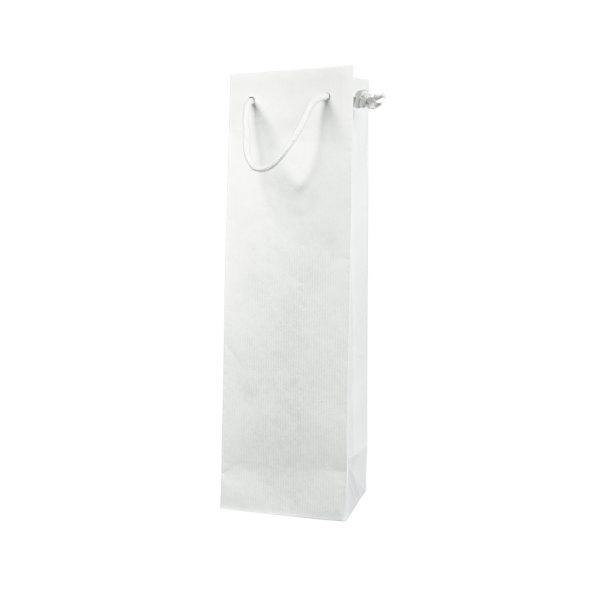 Papierová taška na 1 víno biela, bavlnené ušká