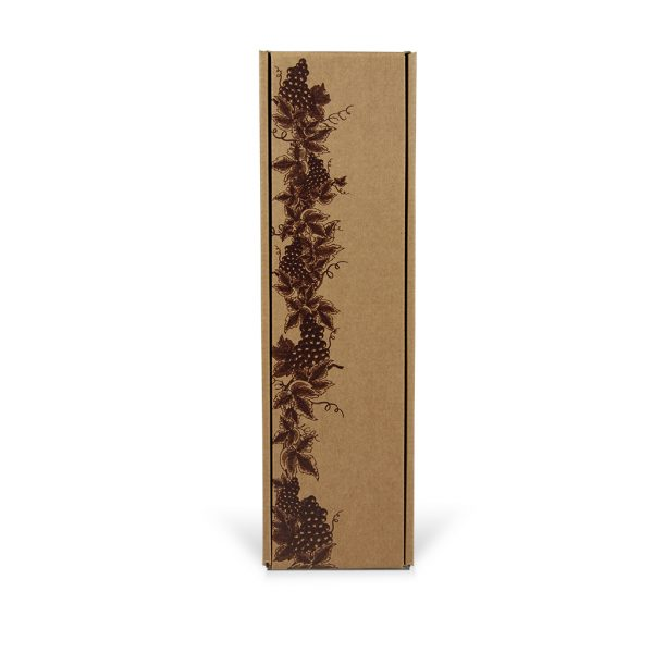 Papierová krabica na 1 víno vzor réva, hnedá