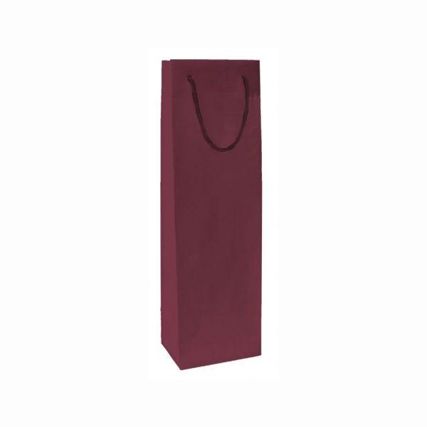 Papierová taška na 1 víno bordová, bavlnené ušká
