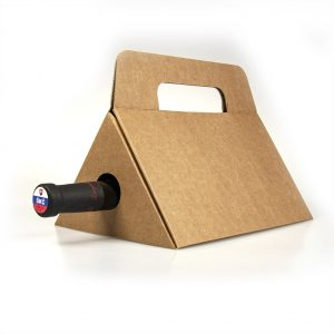 Papierová krabica na 1 víno trojuholník, hnedá