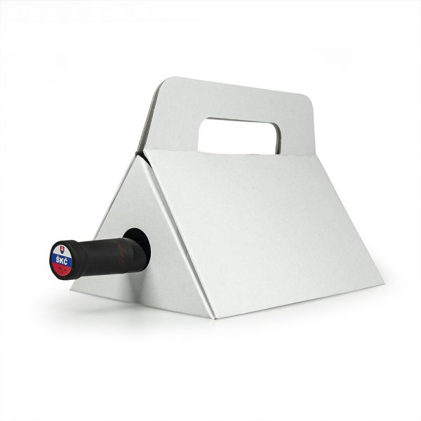 papierová krabica na 1 víno trojuholník, biela