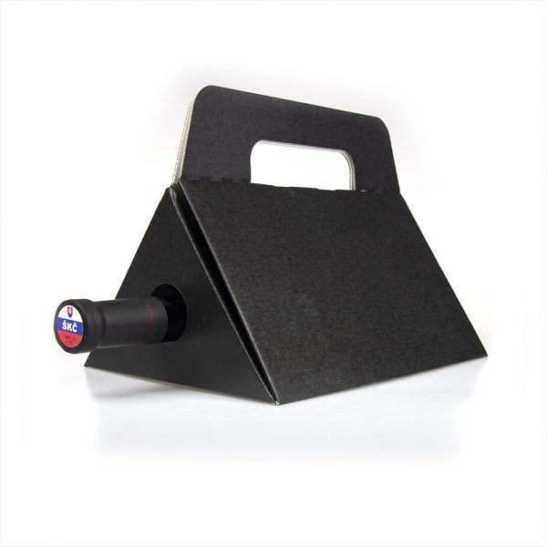 Papierová krabica na 1 víno trojuholník, čierna