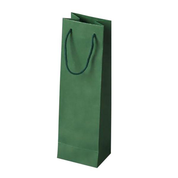 Papierová taška na 1 víno zelená, bavlnené ušká