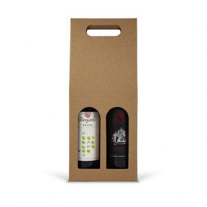 Papierová krabica na 2 vína hnedá