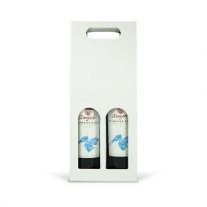 Papierová krabica na 2 vína biela