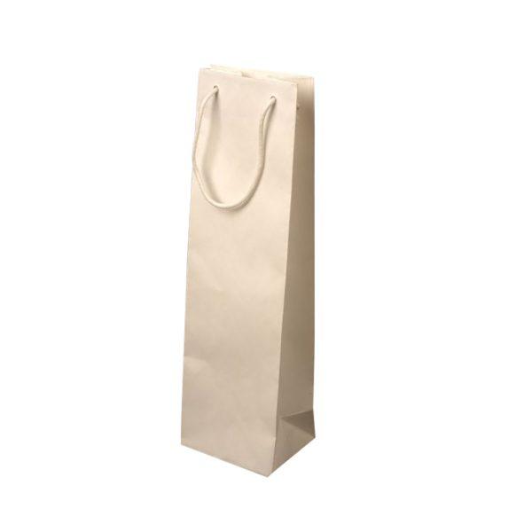 Papierová taška na 1 víno biela matná, textilné držadlá