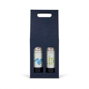 Papierová krabica na 2 vína modrá