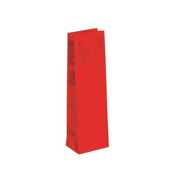 Papierová taška na 1 víno červená lesklá, textilné držadlá
