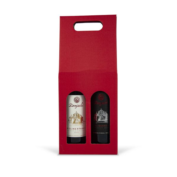 Papierová krabica na 2 vína červená
