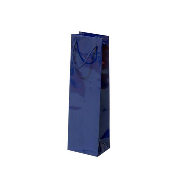 Papierová taška na 1 víno modrá lesklá, textilné držadlá