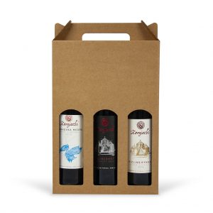 Papierová krabica na 3 vína hnedá