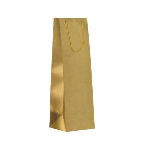 Papierová taška na 1 víno zlatá matná, textilné držadlá