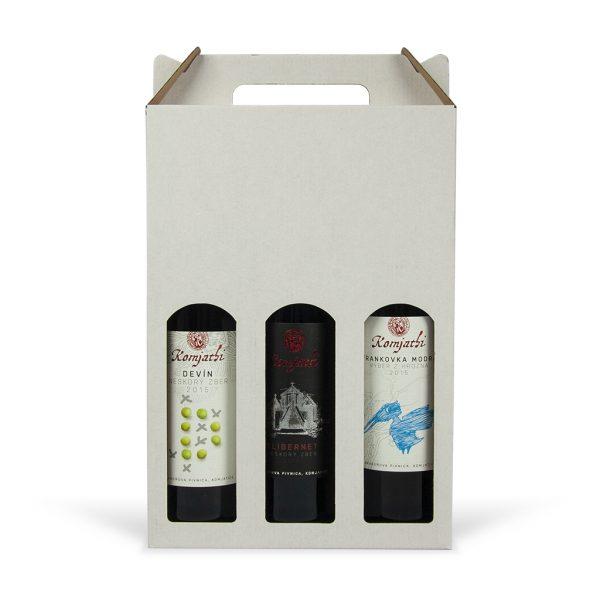 Papierová krabica na 3 vína biela