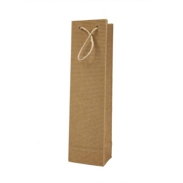 Papierová taška na 1 víno vlnitá lepenka hnedá, bavlnené ušká