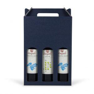 Papierová krabica na 3 vína modrá