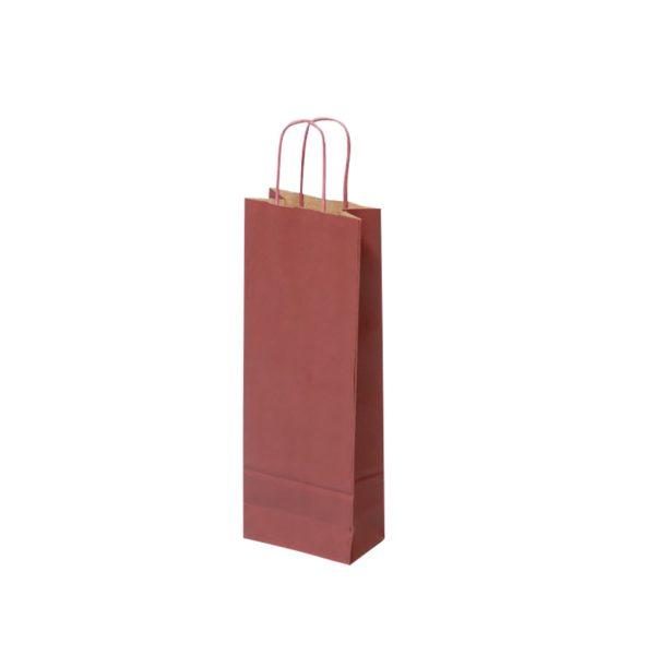 Papierová taška na 1 víno bordová, krútené držadlá