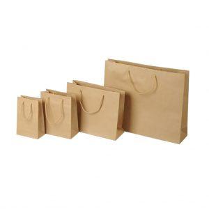 Papierová taška hnedá, bavlnené ušká, 320 x 130 x 400 mm