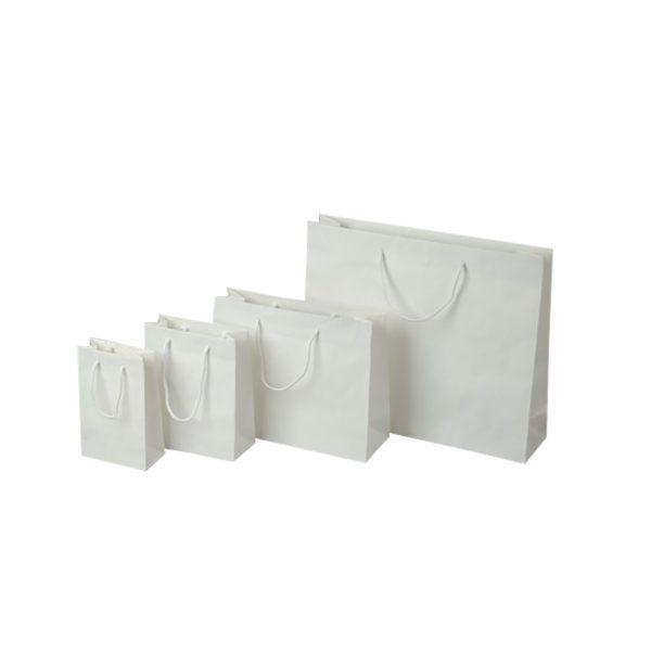 Papierová taška biela, bavlnené ušká, 540 x 140 x 445 mm