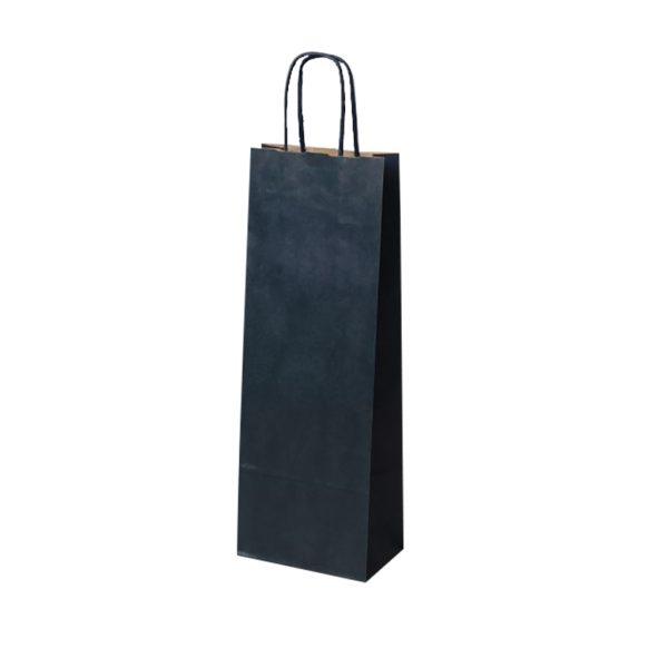 Papierová taška na 1 víno modrá, krútené držadlá