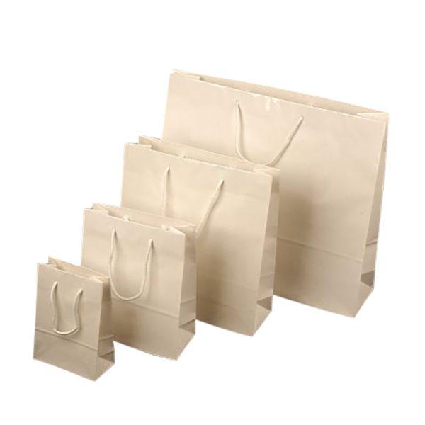 Papierová taška biela lesklá, bavlnené ušká, 540 x 140 x 445 mm