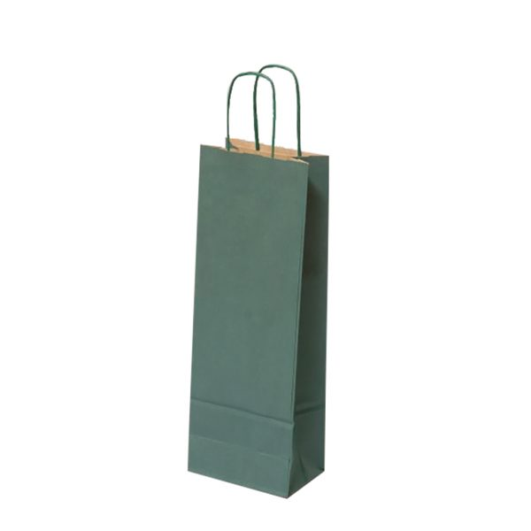 Papierová taška na 1 víno zelená, krútené držadlá