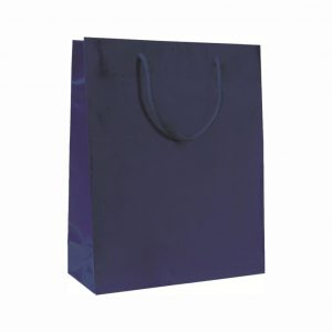 Papierová taška modrá lesklá, bavlnené ušká, 540 x 140 x 445 mm