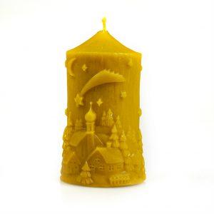Sviečka - Vianočná krajinka, v 10,5 cm, š 6 cm