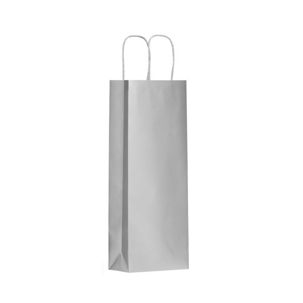 Papierová taška na 1 víno strieborná, krútené držadlá