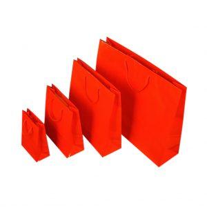 Papierová taška červená lesklá, bavlnené ušká, 540 x 140 x 445 mm