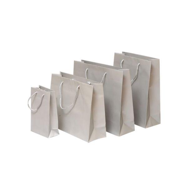 Papierová taška strieborná matná, bavlnené ušká, 540 x 140 x 445 mm