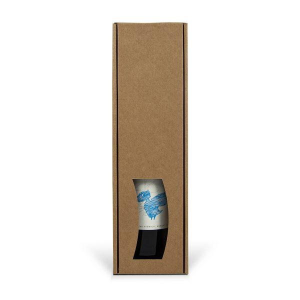 Papierová krabica s výsekom na 1 víno hnedá
