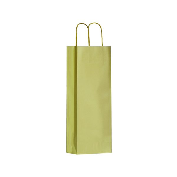 Papierová taška na 1 víno zlatá, krútené držadlá