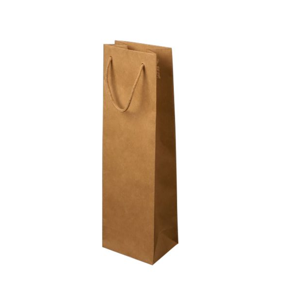 Papierová taška na 1 víno hnedá, bavlnené ušká
