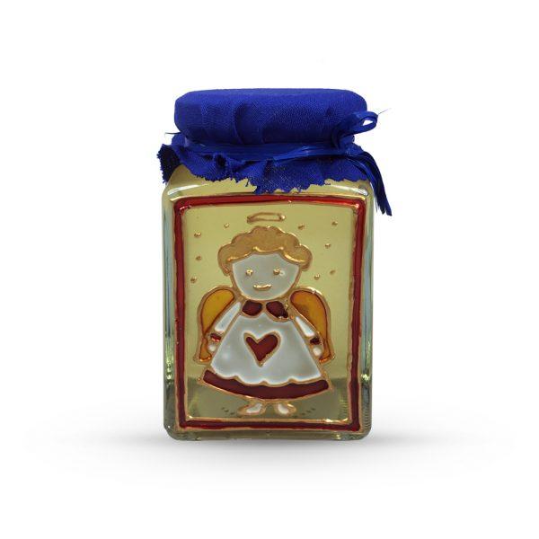 Maľovaný pohár s agátovým medom 330 g - anjel