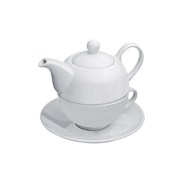 Čajová kanvica so šálkou - biela, Vaše logo