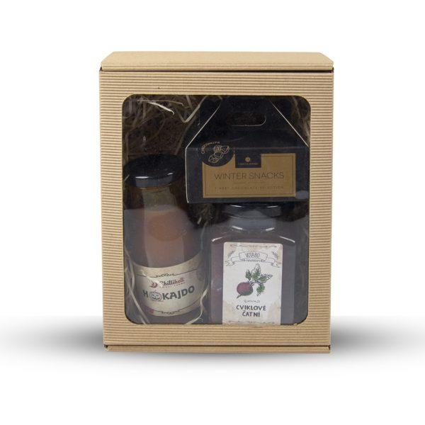 Darčeková krabička z otvorenej mikrovlny s okienkom 200 x 155 x 80 mm